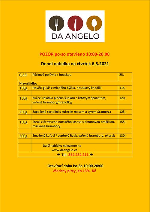 Denní nabídka na čtvrtek 6.5.2021