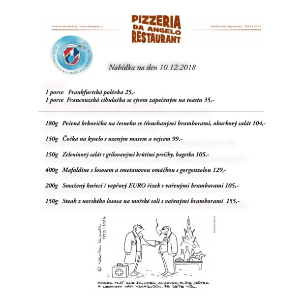807c38695 denní menu 10.12.2018 - Pizzeria & restaurant Da Angelo